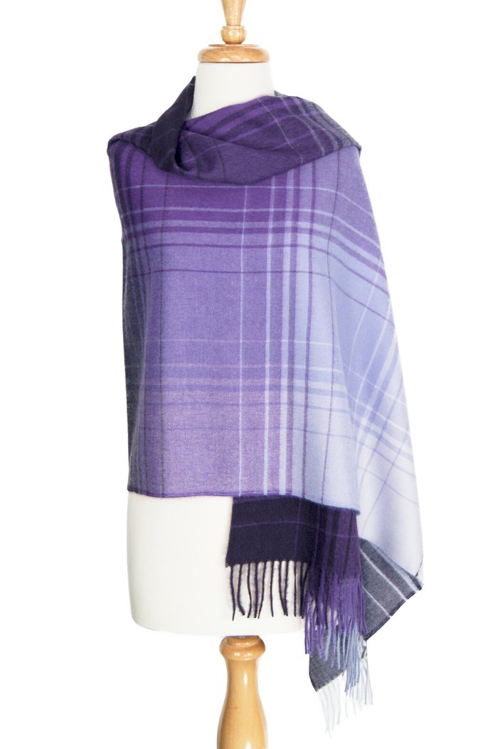 100% Suri Alpaca Shawl - Purple Check