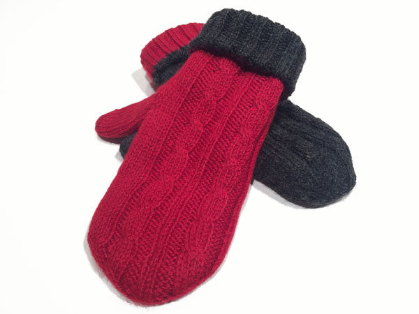 Reversible Mittens Charcoal & Cherry - Small